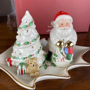 Lenox Holiday Salt & Pepper Shaker Set Santa Tree
